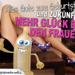 Spruchbild zum Geburtstag mit halb nackter Frau in High Heels
