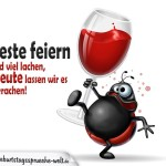 Spruchbild zum Geburtstag: Marienkäfer mit Weinglas