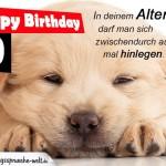Geburtstagskarte zum 40. Geburtstag mit müden Hund