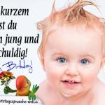 Spruchkarte zum Geburtstag mit Babykopf
