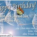 Geburtstagskarte mit nachdenklichen Spruch über das Leben