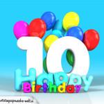 Geburtstagskarte mit Glückwünsch zum 10. Geburtstag