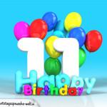 Geburtstagskarte mit Glückwünsch zum 11. Geburtstag