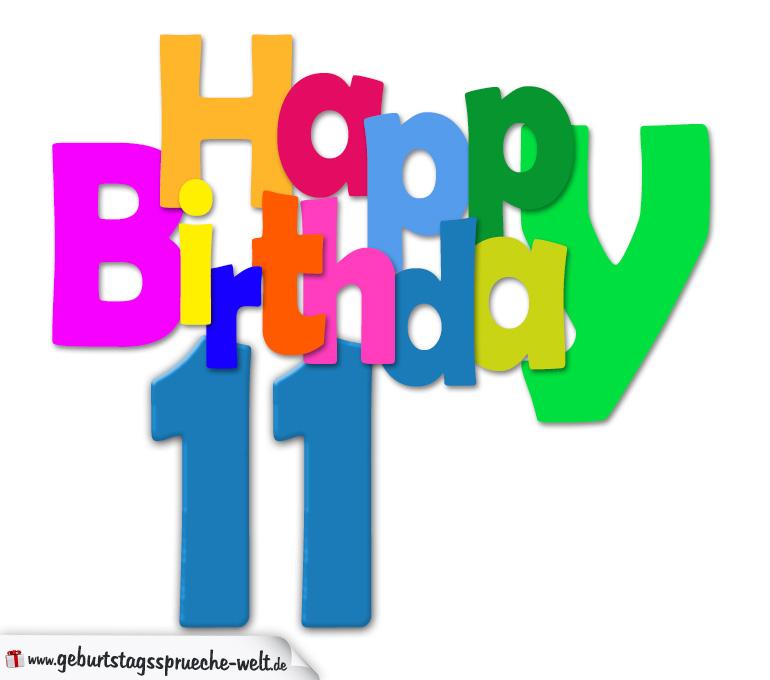 11. Geburtstag - Happy Birthday Geburtstagskarte mit bunten Buchstaben ...