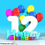 Geburtstagskarte mit Glückwünsch zum 12. Geburtstag