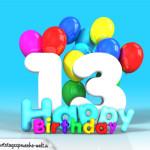 Geburtstagskarte mit Glückwünsch zum 13. Geburtstag