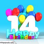 Geburtstagskarte mit Glückwünsch zum 14. Geburtstag