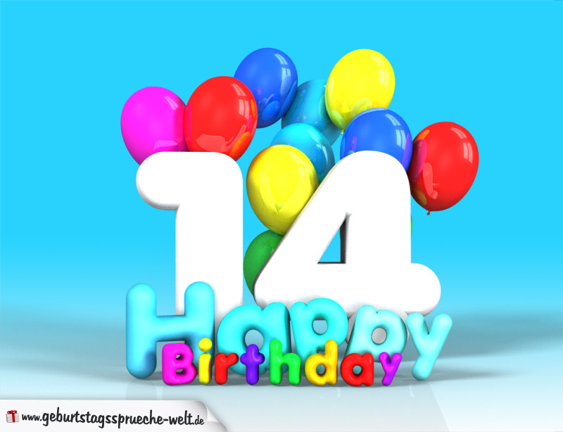 14 Geburtstag Bild Happy Birthday Mit Ballons