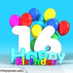 Geburtstagskarte mit Glückwünsch zum 16. Geburtstag