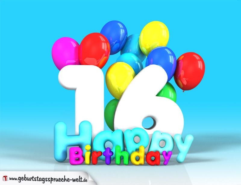 16 geburtstag bild happy birthday mit ballons geburtstagsspr che welt. Black Bedroom Furniture Sets. Home Design Ideas