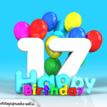 Geburtstagskarte mit Glückwünsch zum 17. Geburtstag