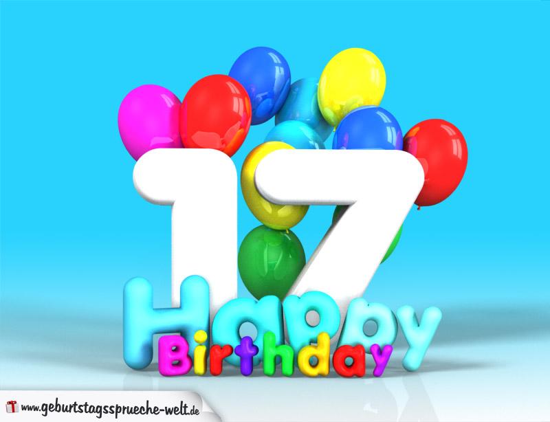 17 Geburtstag Bild Happy Birthday Mit Ballons