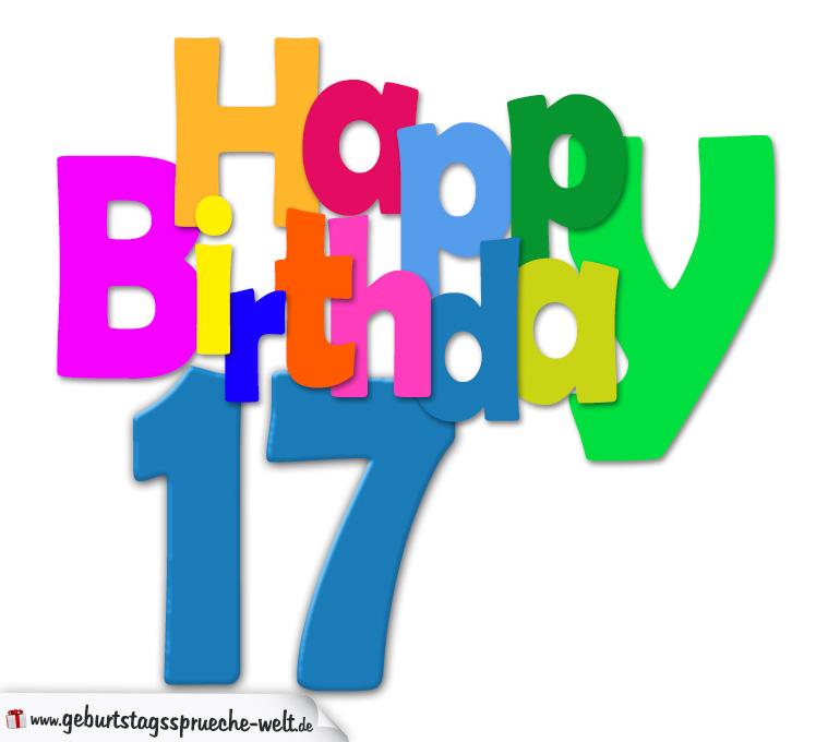 17. geburtstag - happy birthday geburtstagskarte mit bunten