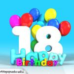 Geburtstagskarte mit Glückwünsch zum 18. Geburtstag