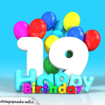 Geburtstagskarte mit Glückwünsch zum 19. Geburtstag