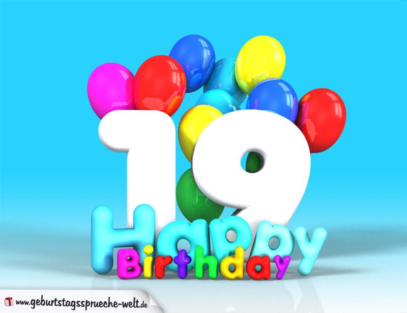 19. geburtstag bild happy birthday mit ballons