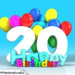 Geburtstagskarte mit Glückwünsch zum 20. Geburtstag