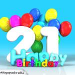 Geburtstagskarte mit Glückwünsch zum 21. Geburtstag