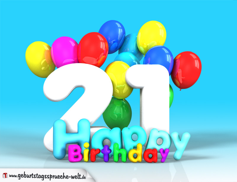 21. geburtstag bild happy birthday mit ballons