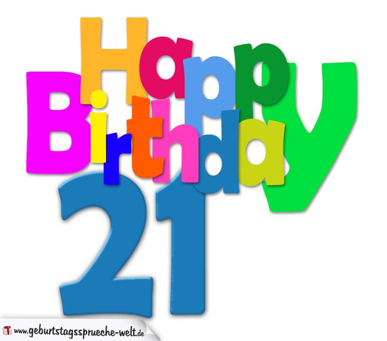 21. geburtstag - happy birthday geburtstagskarte mit bunten