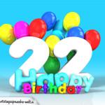 Geburtstagskarte mit Glückwünsch zum 22. Geburtstag