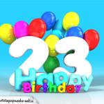 Geburtstagskarte mit Glückwünsch zum 23. Geburtstag