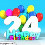 Geburtstagskarte mit Glückwünsch zum 24. Geburtstag