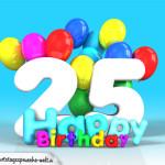 Geburtstagskarte mit Glückwünsch zum 25. Geburtstag