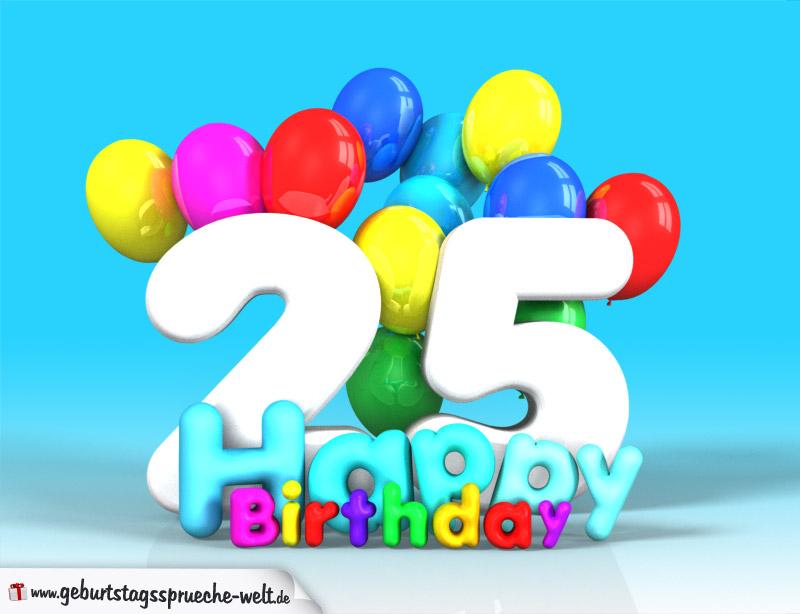 25. geburtstag bild happy birthday mit ballons
