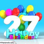 Geburtstagskarte mit Glückwünsch zum 27. Geburtstag