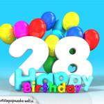 Geburtstagskarte mit Glückwünsch zum 28. Geburtstag