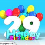 Geburtstagskarte mit Glückwünsch zum 29. Geburtstag