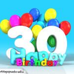 Geburtstagskarte mit Glückwünsch zum 30. Geburtstag