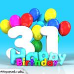 Geburtstagskarte mit Glückwünsch zum 31. Geburtstag