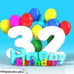 Geburtstagskarte mit Glückwünsch zum 32. Geburtstag