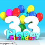 Geburtstagskarte mit Glückwünsch zum 33. Geburtstag