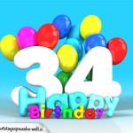 Geburtstagskarte mit Glückwünsch zum 34. Geburtstag