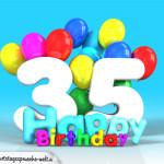 Geburtstagskarte mit Glückwünsch zum 35. Geburtstag