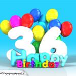 Geburtstagskarte mit Glückwünsch zum 36. Geburtstag