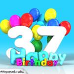 Geburtstagskarte mit Glückwünsch zum 37. Geburtstag