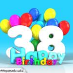 Geburtstagskarte mit Glückwünsch zum 38. Geburtstag