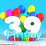 Geburtstagskarte mit Glückwünsch zum 39. Geburtstag