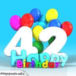 Geburtstagskarte mit Glückwünsch zum 42. Geburtstag