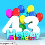 Geburtstagskarte mit Glückwünsch zum 43. Geburtstag