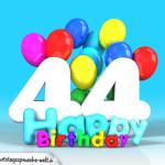 Geburtstagskarte mit Glückwünsch zum 44. Geburtstag