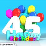 Geburtstagskarte mit Glückwünsch zum 45. Geburtstag