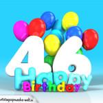 Geburtstagskarte mit Glückwünsch zum 46. Geburtstag