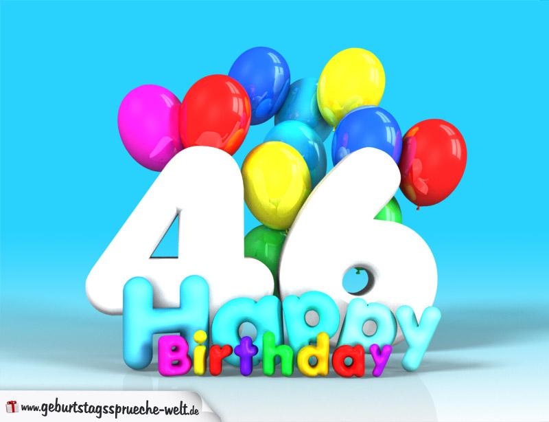 46 Geburtstag Bild Happy Birthday Mit Ballons Geburtstagssprüche Welt