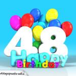 Geburtstagskarte mit Glückwünsch zum 48. Geburtstag