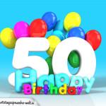 Geburtstagskarte mit Glückwünsch zum 50. Geburtstag